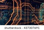 orange  green  background with  ... | Shutterstock . vector #437307691