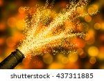 brisk champagne fountain | Shutterstock . vector #437311885