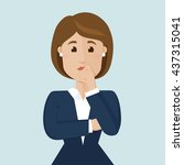 businesswoman thinking... | Shutterstock .eps vector #437315041