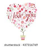 stylized tree in cute flower... | Shutterstock .eps vector #437316769