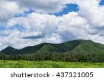 green grass and  mountain with... | Shutterstock . vector #437321005