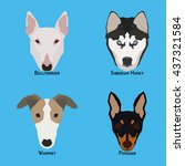 set of different dog breeds on... | Shutterstock .eps vector #437321584