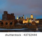 Gdansk - the historic Polish city seen at night. - stock photo