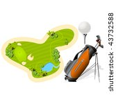 putting green  golf bag and... | Shutterstock .eps vector #43732588