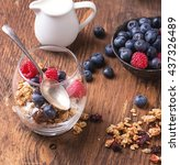 home made granola breakfast... | Shutterstock . vector #437326489