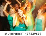 girls in mint dresses have fun... | Shutterstock . vector #437329699