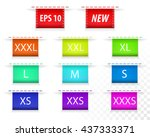 clothing size labels color.... | Shutterstock .eps vector #437333371