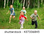 the children lead an active a... | Shutterstock . vector #437336845