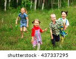 the children lead an active a... | Shutterstock . vector #437337295