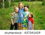 the children lead an active a...   Shutterstock . vector #437341429