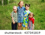 the children lead an active a... | Shutterstock . vector #437341819