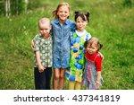 the children lead an active a... | Shutterstock . vector #437341819