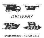 fast delivery set. black icons...   Shutterstock .eps vector #437352211