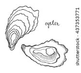 oyster. seafood design elements.... | Shutterstock .eps vector #437353771