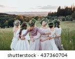 girls in dresses and wreaths of ... | Shutterstock . vector #437360704