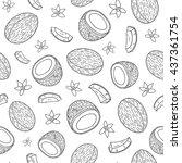 black and white seamless... | Shutterstock .eps vector #437361754