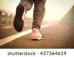 walking on a running track.... | Shutterstock . vector #437364619