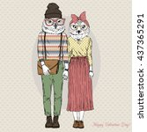 furry art illustration of owls... | Shutterstock .eps vector #437365291