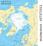 arctic region map with... | Shutterstock .eps vector #437372311