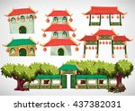 china house objects for the... | Shutterstock .eps vector #437382031
