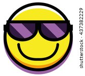 vector face with sunglasses... | Shutterstock .eps vector #437382229