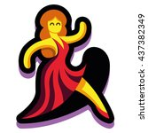 vector lady dancer isolated on... | Shutterstock .eps vector #437382349