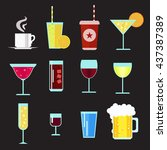 drinks flat icons simple set... | Shutterstock .eps vector #437387389