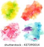set of vector watercolor... | Shutterstock .eps vector #437390014