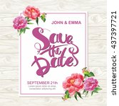 marriage invitation card with... | Shutterstock .eps vector #437397721