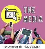 podcast digital device social...   Shutterstock . vector #437398264