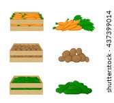 vegetables in wooden boxes... | Shutterstock .eps vector #437399014