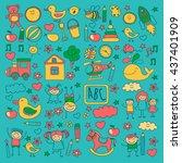 doodle vector kindergarten... | Shutterstock .eps vector #437401909