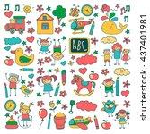 doodle vector kindergarten... | Shutterstock .eps vector #437401981