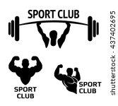sport club. bodybuilding logos... | Shutterstock .eps vector #437402695
