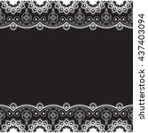 indian  mehndi henna line lace...   Shutterstock . vector #437403094