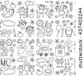 doodle vector kindergarten... | Shutterstock .eps vector #437403244