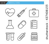 medical icon vector set mobile... | Shutterstock .eps vector #437408155