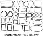 black ink frames. grunge paint... | Shutterstock .eps vector #437408599