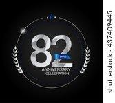 82 years silver anniversary...   Shutterstock .eps vector #437409445