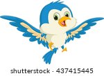 happy blue bird cartoon flying | Shutterstock . vector #437415445