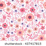 cute pattern in small flower.... | Shutterstock .eps vector #437417815