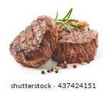 grilled beef steaks with spices ... | Shutterstock . vector #437424151