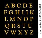 golden alphabet on a black... | Shutterstock .eps vector #437424901