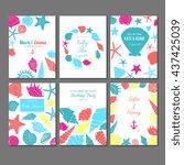 set of vector universal card... | Shutterstock .eps vector #437425039