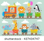 funny animal on train. vector... | Shutterstock .eps vector #437434747