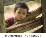 Stock photo child boy tribal playing in smog 437435374