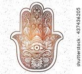 indian hand hamsa or hand of... | Shutterstock .eps vector #437436205
