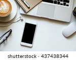 office stuff with smart phone... | Shutterstock . vector #437438344