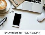 office stuff with smart phone... | Shutterstock . vector #437438344