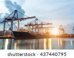 container ship in the harbor at ... | Shutterstock . vector #437440795